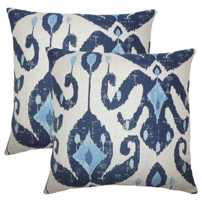 Tashani Ikat Throw Pillow Color: Navy