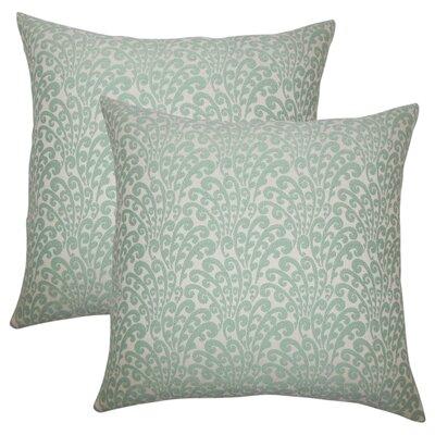 Battista Floral Throw Pillow Color: Aqua