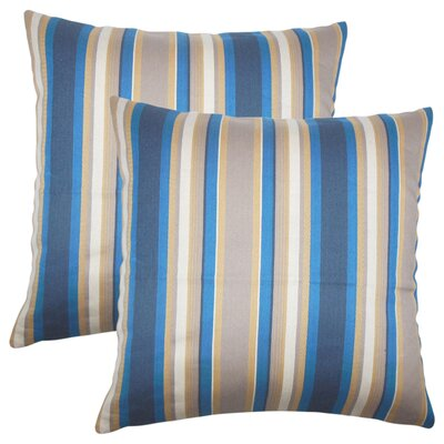 Yeji Striped Cotton Throw Pillow Color: Indigo