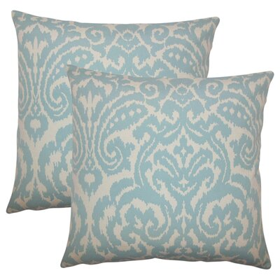 Millington Ikat Cotton Throw Pillow Color: Sky