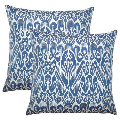 Nevaeh Ikat Cotton Throw Pillow Color: Indigo