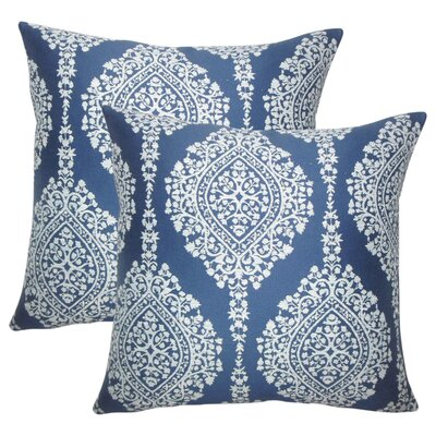 Ignazio Damask Cotton Throw Pillow Color: Lapis