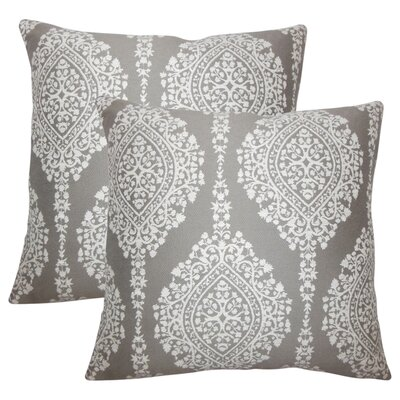 Ignazio Damask Cotton Throw Pillow Color: Stone