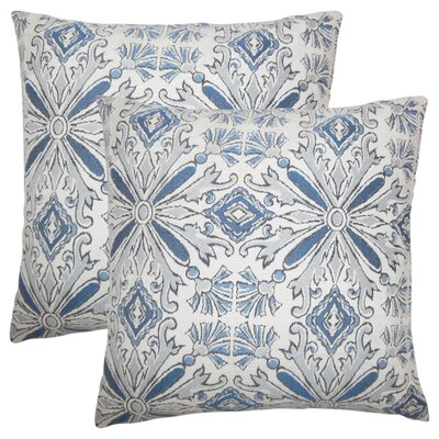 Peyman Damask Cotton Throw Pillow Color: Chambray