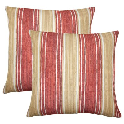 Min Stripes Cotton Throw Pillow Color: Cayenne