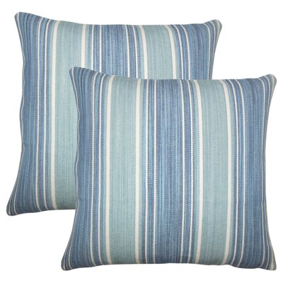Min Stripes Cotton Throw Pillow Color: Turquoise