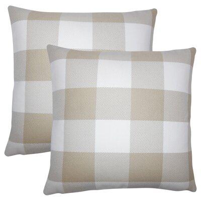 Pompa Plaid Cotton Throw Pillow Color: Sesame