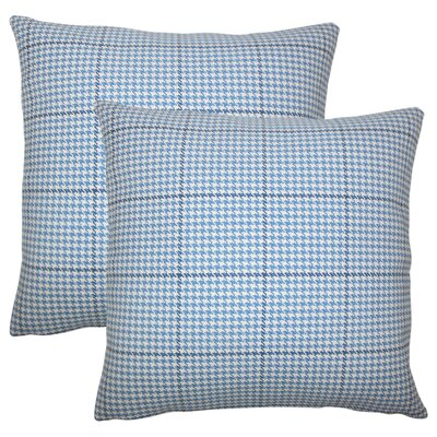 Coakley Houndstooth Cotton Throw Pillow Color: Blue