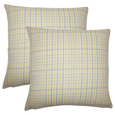 Songy Plaid Cotton Throw Pillow Color: Jonquil