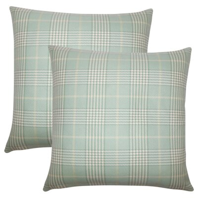 Theron Houndstooth Cotton Throw Pillow Color: Seaglass