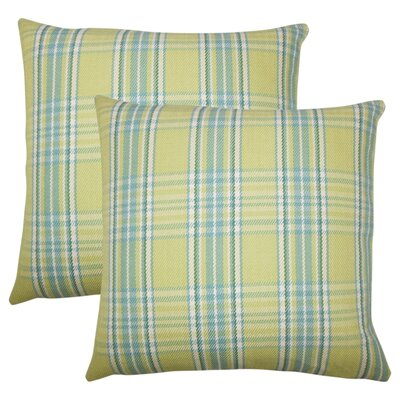 Posiedon Plaid Cotton Throw Pillow Color: Spring Green