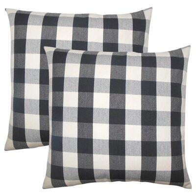 Berkeley Plaid Cotton Throw Pillow Color: Black/White