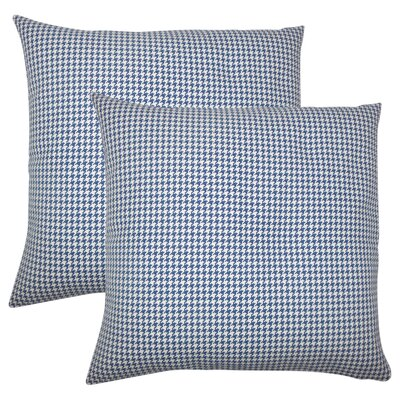 Wofford Houndstooth Cotton Throw Pillow Color: Blue