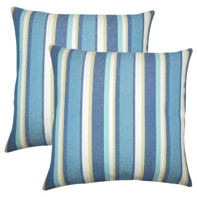 Wallin Striped Cotton Throw Pillow Color: Caribbean
