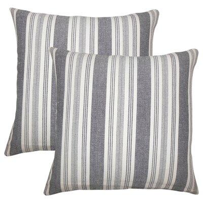 Wallin Striped Cotton Throw Pillow Color: Black/White