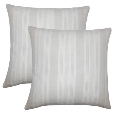 Wallin Striped Cotton Throw Pillow Color: Putty