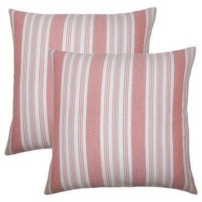 Wallin Striped Cotton Throw Pillow Color: Spice