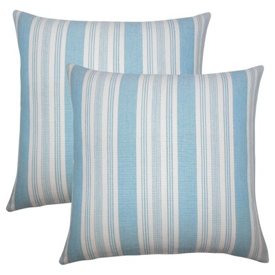 Wallin Striped Cotton Throw Pillow Color: Turquoise