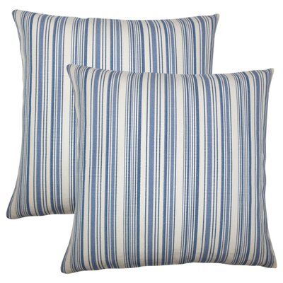 Torington Striped Cotton Throw Pillow Color: Blue