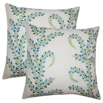 Lloyd Floral Linen Throw Pillow Color: Aqua Green