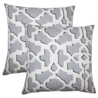 Freeburg Geometric Cotton Throw Pillow Color: Graystone