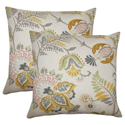 Calla Floral Cotton Throw Pillow Color: Graystone