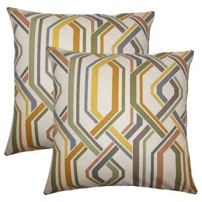 Rigney Geometric Cotton Throw Pillow Color: Graystone