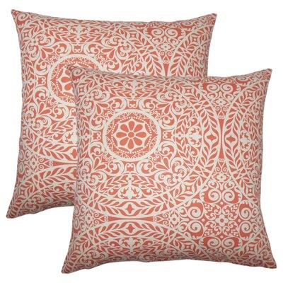 Meador Damask Cotton Throw Pillow Color: Mango