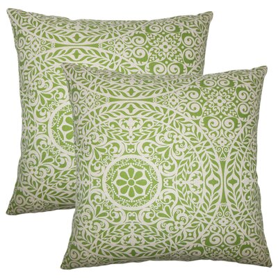 Meador Damask Cotton Throw Pillow Color: Palm
