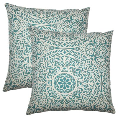 Meador Damask Cotton Throw Pillow Color: Teal
