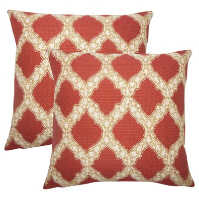 J Geometric Cotton Throw Pillow Color: Cayenne