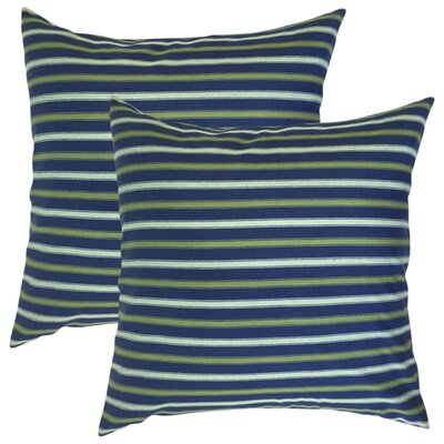 Sumrall Striped Cotton Throw Pillow Color: Blue