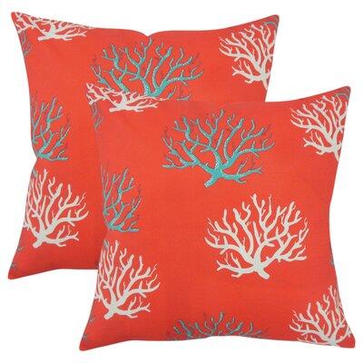 Fletcher Coastal Throw Pillow Color: Orange
