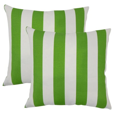 Lozier Striped Throw Pillow Color: Green