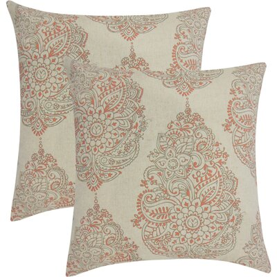 Sealey Damask Cotton Throw Pillow Color: Red