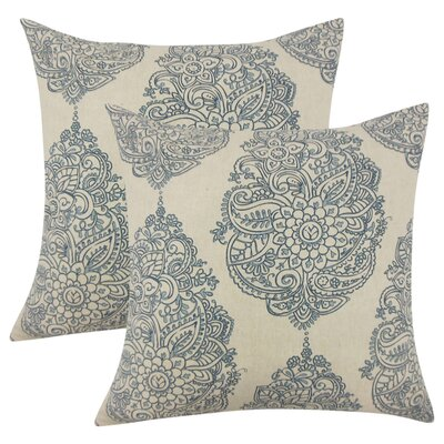 Sealey Damask Cotton Throw Pillow Color: Blue