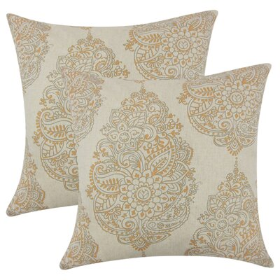 Sealey Damask Cotton Throw Pillow Color: Orange