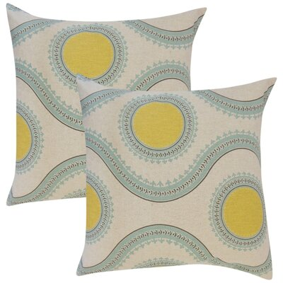 Gwendolyn Graphic Cotton Throw Pillow Color: Yellow