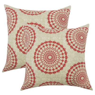 Windsor Geometric Cotton Throw Pillow Color: Red