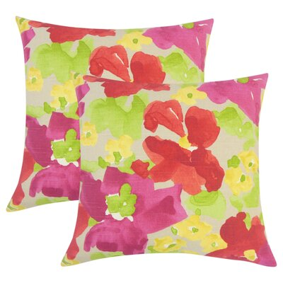 Yonkers Floral Cotton Throw Pillow Color: Red