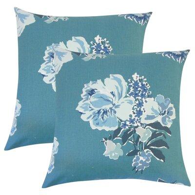 Bottorff Floral Cotton Throw Pillow Color: Blue