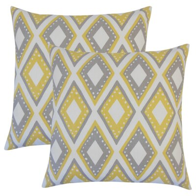 Amirah Geometric Cotton Throw Pillow Color: Yellow
