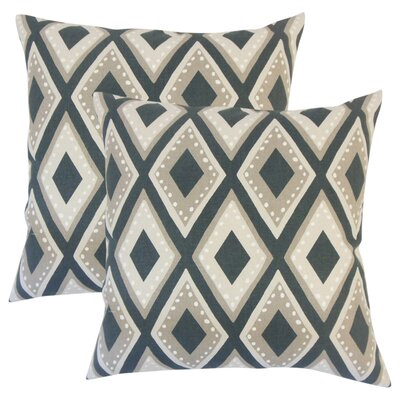 Amirah Geometric Cotton Throw Pillow Color: Black