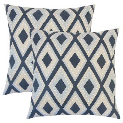 Amirah Geometric Cotton Throw Pillow Color: Blue