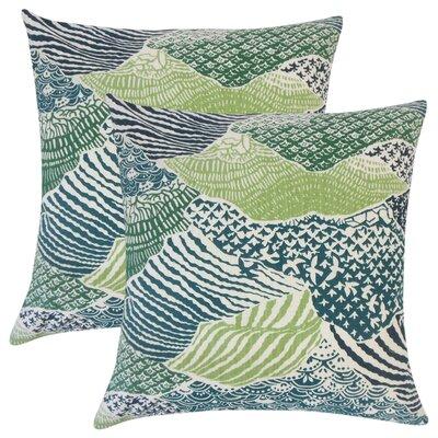 Bevers Ikat Cotton Throw Pillow Color: Green