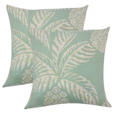 Medena Floral Cotton Throw Pillow Color: Aqua