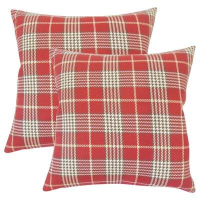 Tina Plaid Cotton Throw Pillow Color: Red