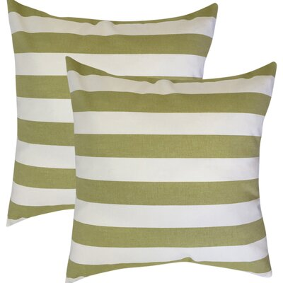 Rivenburg Striped Cotton Throw Pillow Color: Green
