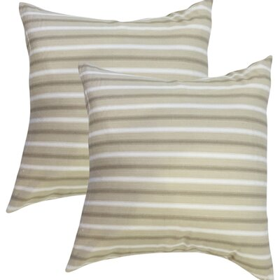Kristofer Striped Cotton Throw Pillow Color: Tan