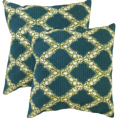 J Geometric Cotton Throw Pillow Color: Aqua/Green
